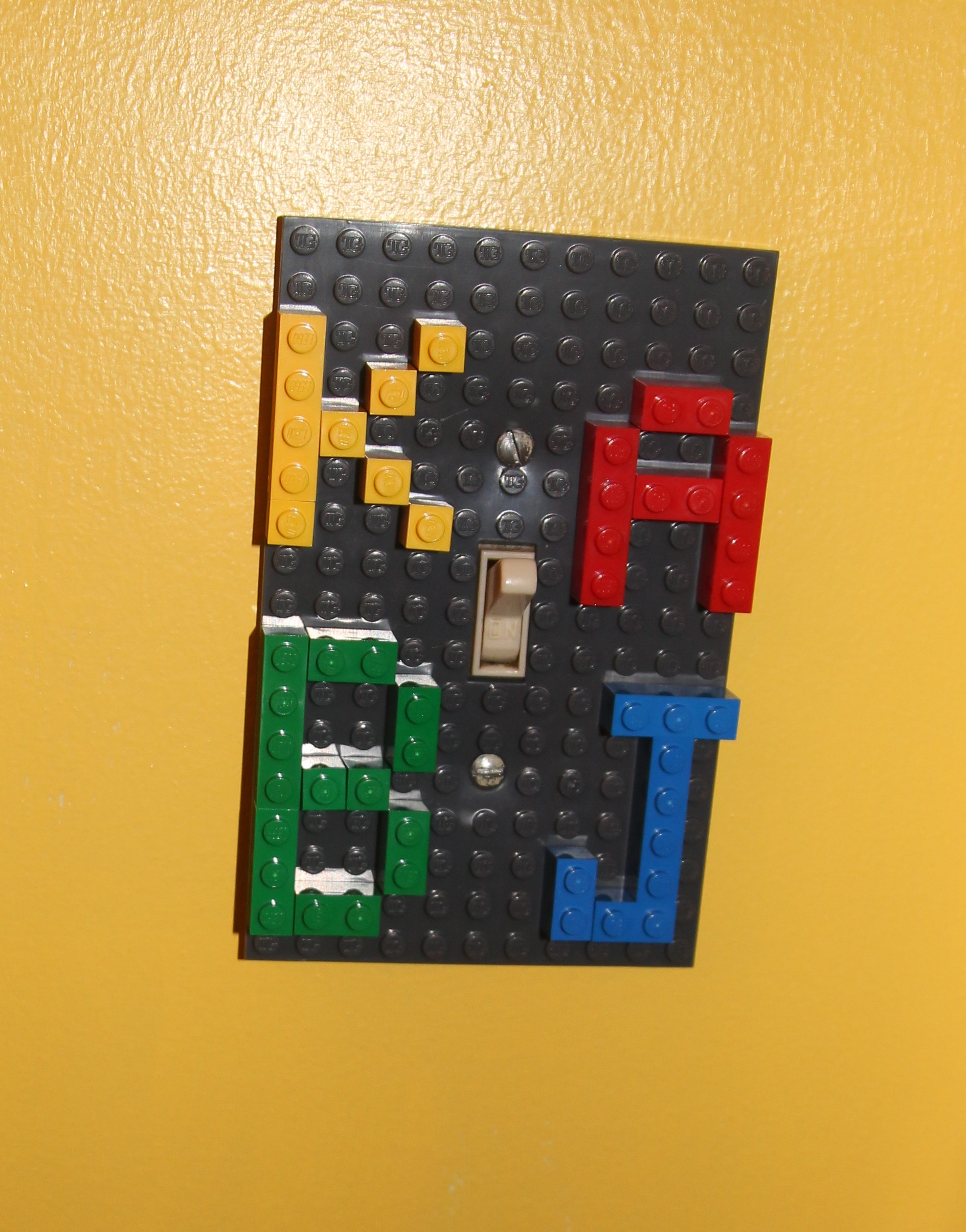 I Used LEGOs From Our Collection To Write My Kidsu0027 Initials On It. I Tried  To Stick Mostly To Primary Colored LEGOs Throughout The Bathroomu0027s Decor,  ...