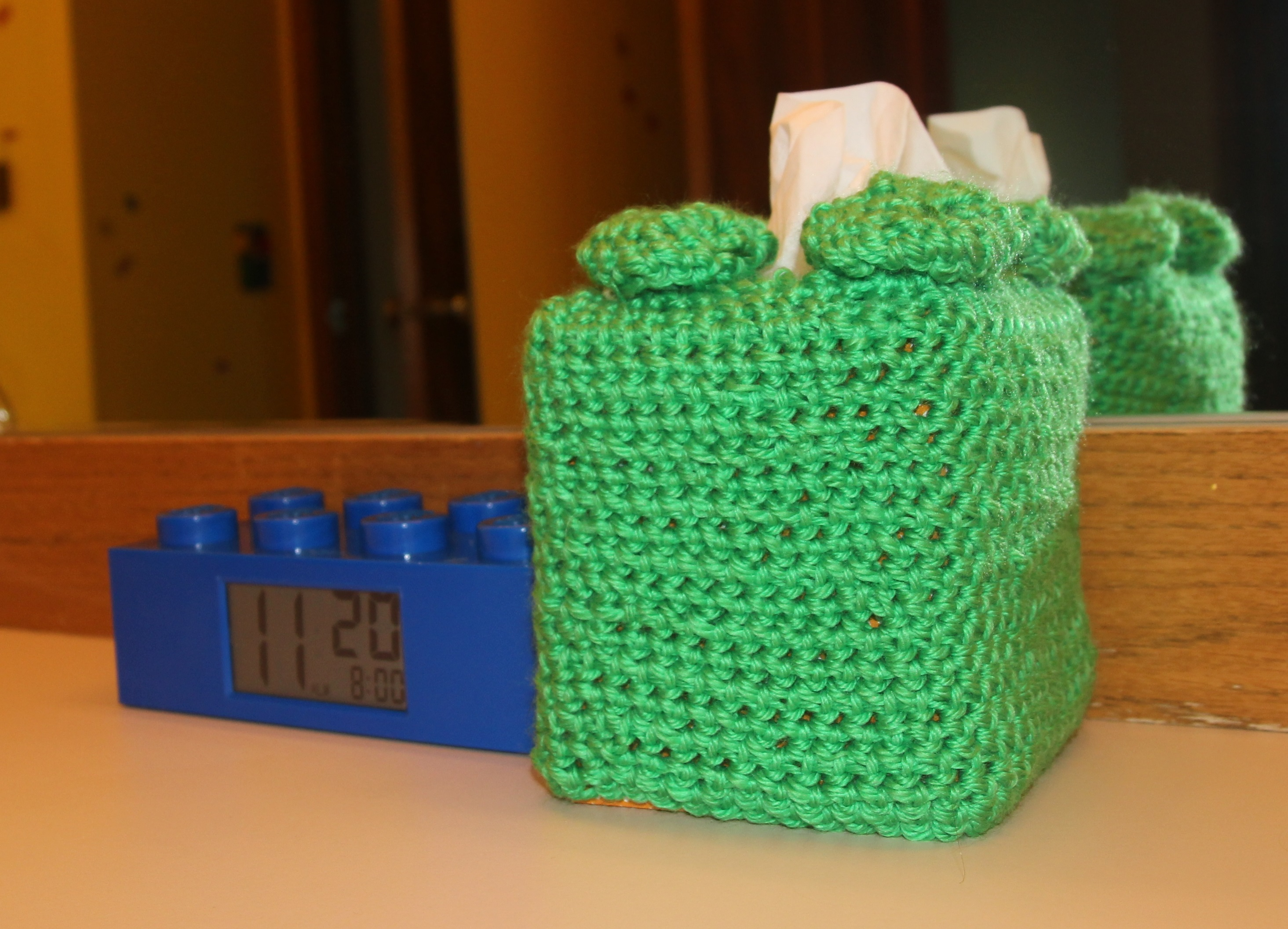 ... Sending Us This Official LEGO Brick Shaped Clock ($24 On Amazon), And  My Mom Did Her Part By Crocheting A Tissue Box Cover In The Shape Of A LEGO  Brick.